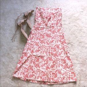 J Crew ivory and floral midi dress